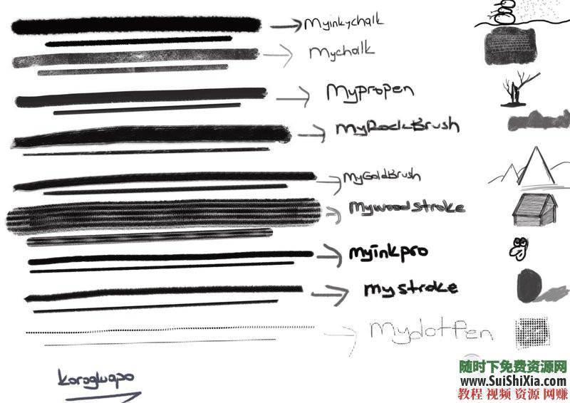 procreate笔刷带预览图 ipad 绘画素材之极品3000 4.5G  绘画素材之极品3000+procreate笔刷带预览图打包4.5G 第14张